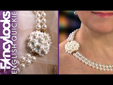 DIY Bridal Pearl necklace with Swarovski and cold porcelain flower brooch