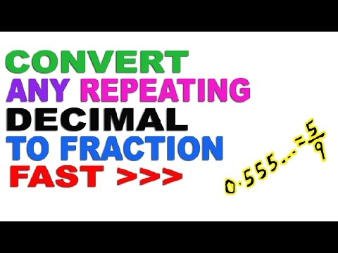 Converting Any Repeating Decimal Numbers to Fractions - Hindi (2016)