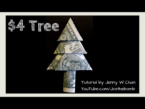 Christmas Crafts - DIY How to Fold Money Christmas Tree - Money Origami Tree (EASY)