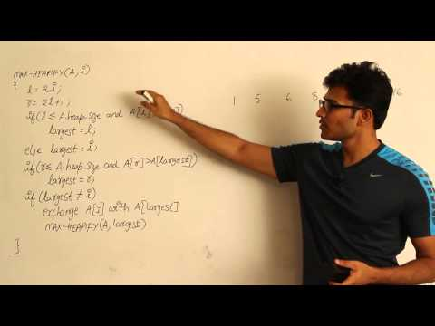 Algorithms lecture 12 -- Max heapify algorithm and complete binary tree