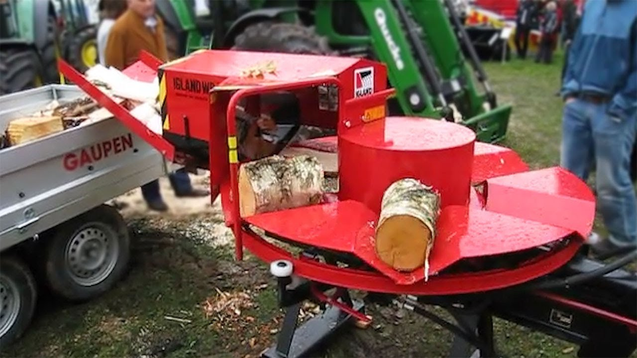 Extreme Fast Automatic Firewood Processing Machine, Wood Cutting Machine Splitting Firewood Amazing