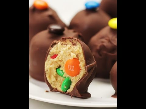 Peanut Butter Balls with no Bake M&M Chocolate