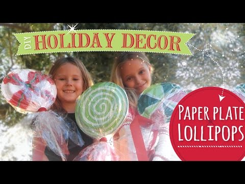 DIY Christmas Decorations  | Paper Plate Lollipops  |  Easy Christmas Craft