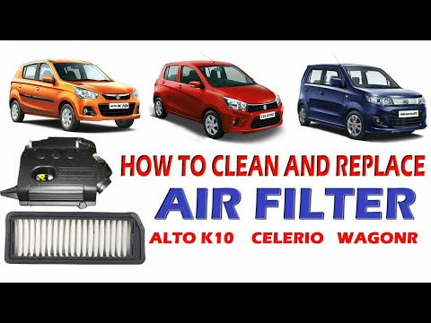 how to clean and replace Alto k10, celerio and wagonr air filter?