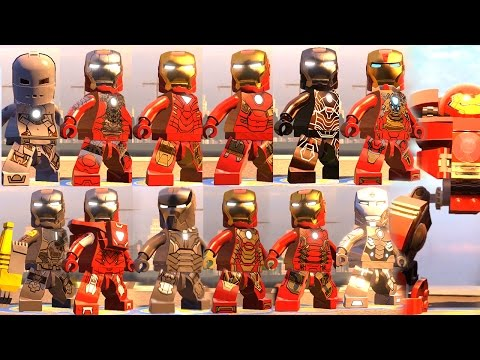 IRON MAN ALL SUITS WITH ABILITIES (Iron Man All Suit Up Animations) LEGO MARVEL AVENGERS