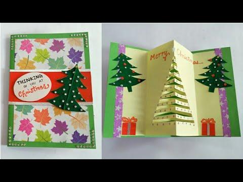 DIY Christmas Tree Card/ How to make Christmas Greeting Card/ Popup Christmas Tree Card