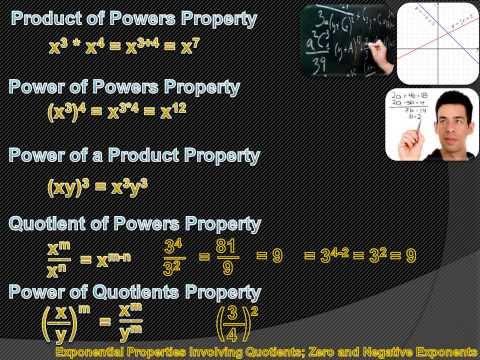 Algebra 1 - Exponential Properties Involving Quotients; Zero and Negative Exponents