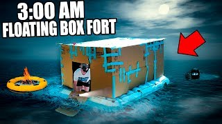 3:00 AM FLOATING BOX FORT CHALLENGE!! 😱 (EXTREMELY SCARY)