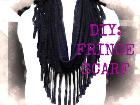 FASHION DIY: Fringe Scarf using a Shirt! NO Sewing! EASY