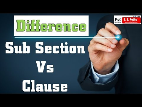 Difference between Sub section & Clause explained