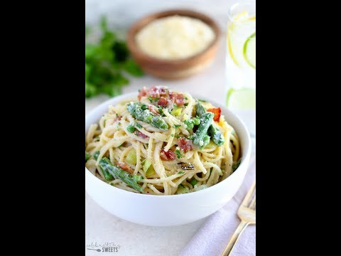 Spring Vegetable and Bacon Alfredo