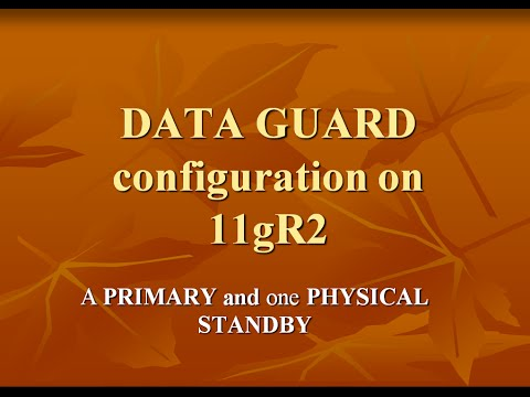 1.Data Guard Configuration - A Primary and one Standby database