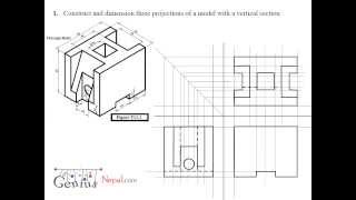 Engineering Drawing Tutorials / Orthographic Drawing solution  (T