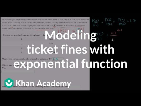 Modeling ticket fines with exponential function | Algebra II | Khan Academy