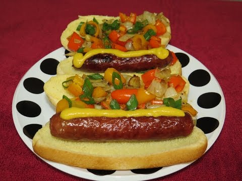 Easy Grilled Beef Brats with Peppers and Onions on the Weber Jumbo Joe