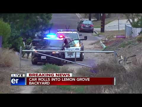 Car rolls down hill, into fence of Lemon Grove home