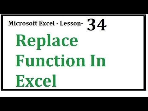 Excel  Replace  Function In Excel  Hindi  Urdu   Lesson 34