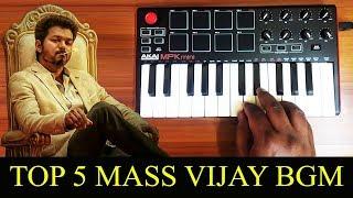 Top 5 Mass Thalapathy Vijay Bgm By Raj Bharath