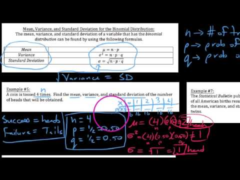 PS 5.4.4  Finding Mean, Variance & Standard Deviation for a Binomial Experiment