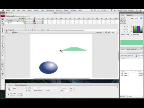 Motion and Shape Tweens in Flash - Simple Ball Bounce and Card Flip Animation