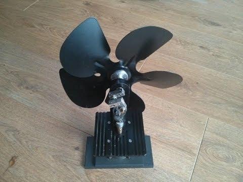 Stirling engine wood burner fan