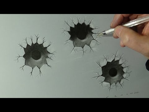 Very Easy - Drawing Realistic Bullet Hole - 3D Visual Illusion