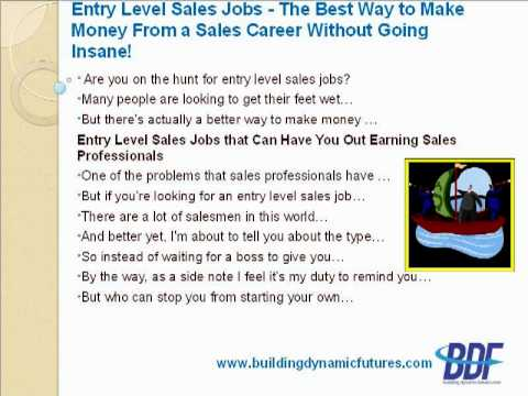 Entry Level Sales Jobs - The Best Way to Make Money From a Sales Career Without Going Insane!
