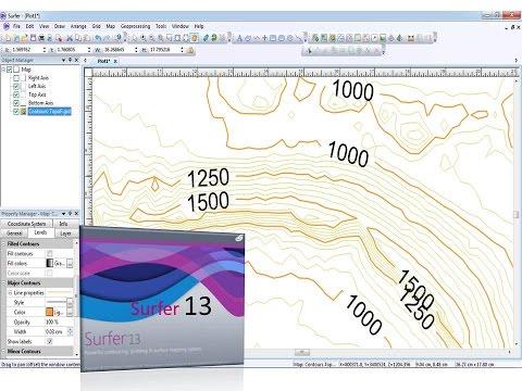 Surfer 13 contour Lines