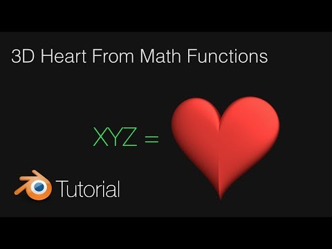 3D Heart With Math Functions, Tutorial in Blender