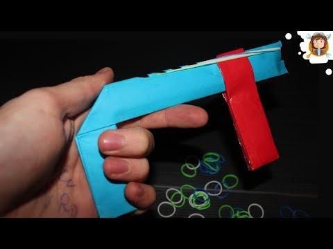 How to make a paper gun - (Rubber band gun 7 SHOOTS)