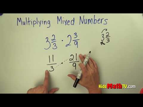 How to multiply mixed fractions with whole numbers Math video