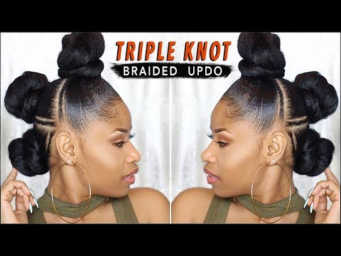 EDGY TRIPLE-KNOT BRAIDED UPDO ➟ natural hair tutorial