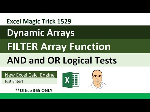 Excel Dynamic Arrays: FILTER Array Function AND & OR Logical Tests (Excel Magic Trick 1529)