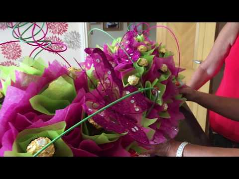 Gorgeous and large Pink/Green Ferrero Rocher Chocolate and Candy Bouquet