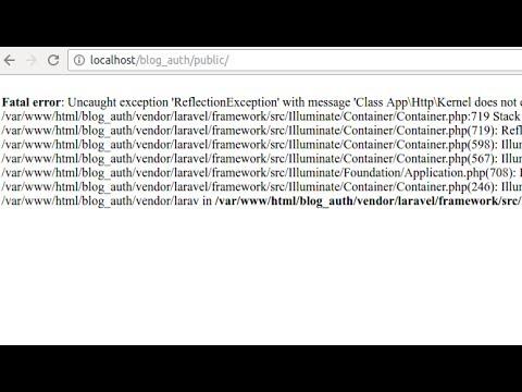 Laravel error - Uncaught exception 'ReflectionException' with message Class App\Http\Kernel