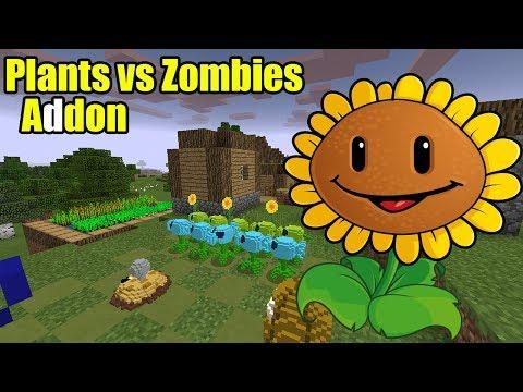 Plants vs Zombies Addon | Minecraft PE Gameplay Walkthrough