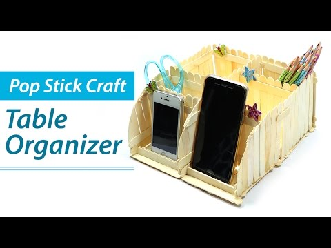 Popsicle Stick Crafts: DIY Desk Organizer, Phone Stand, Ice Cream Sticks Craft Ideas