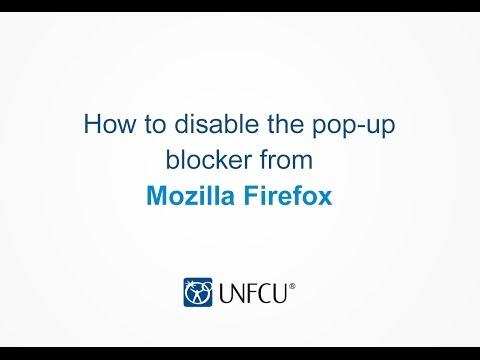 Mozilla Firefox: Disabling the Pop-up Blocker