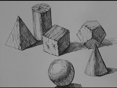 Pen & Ink Drawing Tutorials | How to shade simple forms with cross-hatching