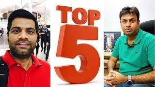 Top 5 YouTube Tech Channels in India 2017 - Top 5 TechTubers ft. Technical Guruji