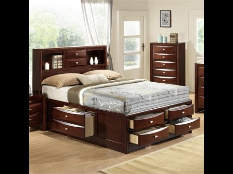 ROUND HILL FURNITURE QUEEN STORAGE BED EMILY B11SQHF UNBOXING + ASSEMBLY INSTALL