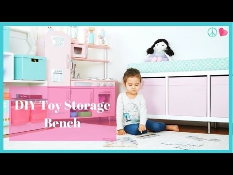 DIY Cushioned Toy Storage Bench