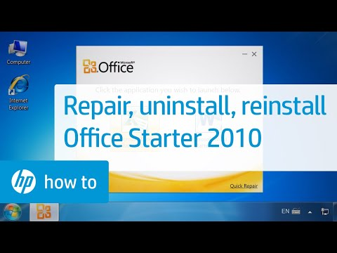 Repairing, Uninstalling, and Reinstalling Office Starter 2010