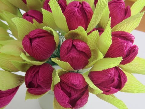 HOW TO MAKE GORGEOUS FLOWER BUDS WITH CREPE PAPER