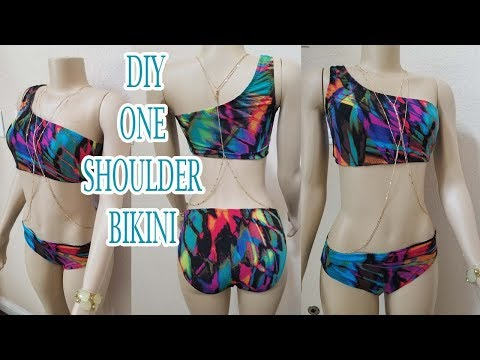 DIY ONE SHOULDER BIKINI SWIMSUIT   How to sew a two piece swimsuit easy