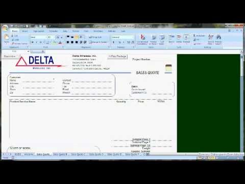 Delta Wireless Quote Form Settings for Excel