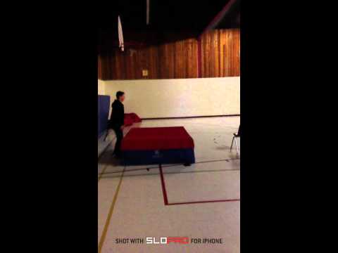 Slow Motion Onto High Jump Mat