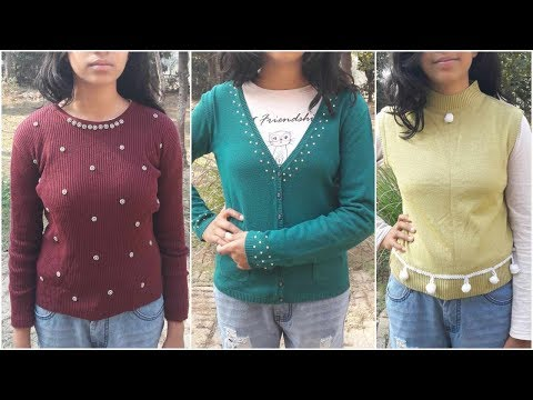 4 Easy Ways To Refashion / Upcycle Old Sweaters | DIY