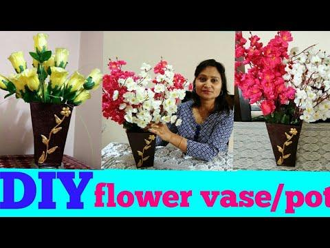 DIY flower vase, pot,clay art,do it yourself,anvesha,s creativity