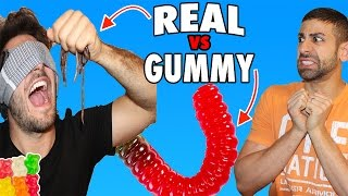 DISGUSTING REAL FOOD VS GUMMY FOOD CHALLENGE GONE WRONG BLINDFOLDED EXTREME EDITION!!